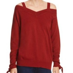 Theory Cold Shoulder 100% Cashmere Sweater Red